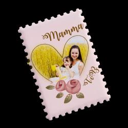 Magnete in ceramica personalizzato con foto in un cuore