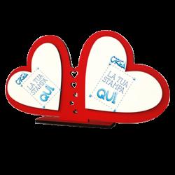 Cornice in legno con doppio cuore personalizzabile