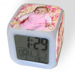 Orologio / Sveglia digitale illuminante personalizzata con 4 foto