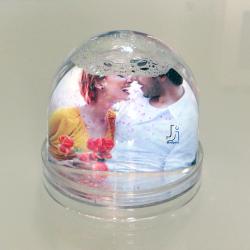 Portafoto Globo sfera con pioggia di brillantine multicolor personalizzabile...