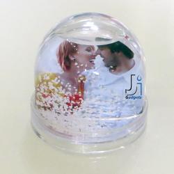 Portafoto Globo sfera con pioggia di neve personalizzabile con 2 foto