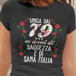 T-shirt con anno e età personalizzata, unica saggezza e sana follia