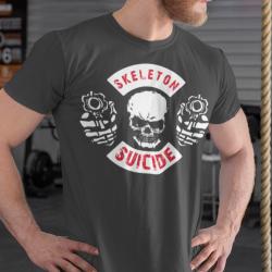T-shirt con stampa scheletro con pistole e scritte personalizzate