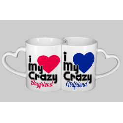 Coppia di Tazze I Love crazy Boyfriend e Girlfriend