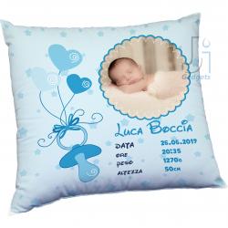 Cuscino neonato con foto e dati nascita personalizzati