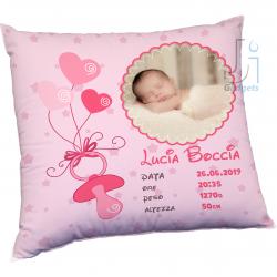 Cuscino neonata con foto e dati nascita personalizzati