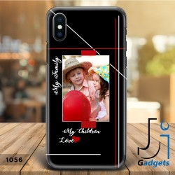 Cover Smartphone fantasia fondo nero e righe con foto e scritte personalizzabili