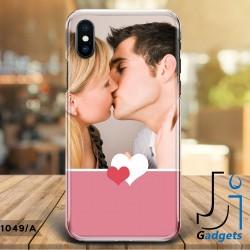 Cover Smartphone Tinta unita blu con cuori e foto da personalizzare