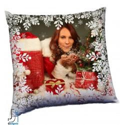 Cuscino Natalizio da personalizzare con foto, con cornice neve