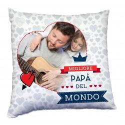 Cuscino con foto tema per il papà, miglior papà del mondo