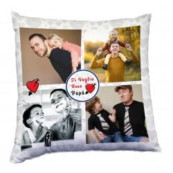 Cuscino con 4 foto tema per il papà