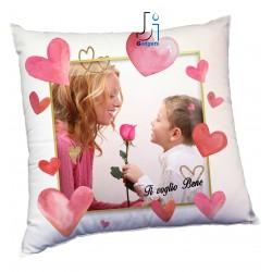 Cuscino Personalizzato con Foto, tema con cuori per Mamma