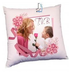Cuscino Personalizzato con Foto, in cornice floreale tema per la festa della...