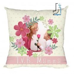 Cuscino Personalizzato con Foto, in cornice floreale ovale, tema per la festa...